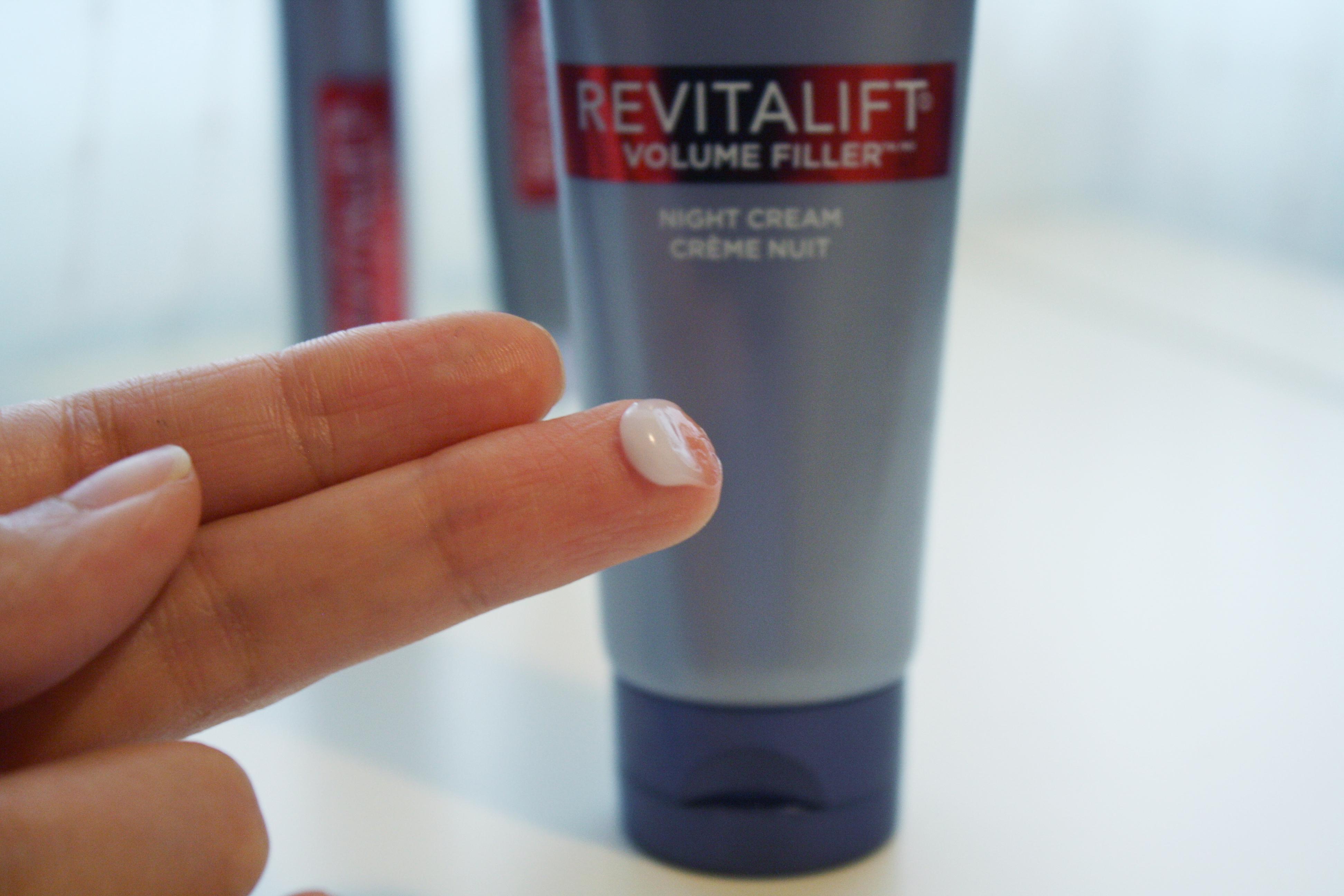 l'oreal revitalift volume filler line skincare hyaluronic acid review night cream anti-aging mature skin