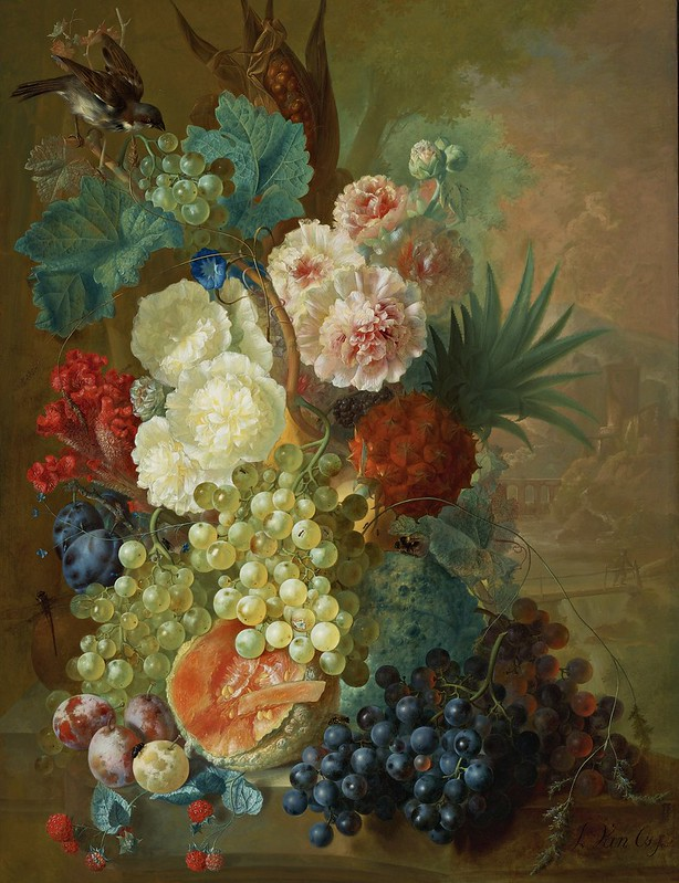 Jan van Os - Still life of peonies, a cocks comb and morning glories with a pineapple, ear of corn, melons, grapes, plums and raspberries