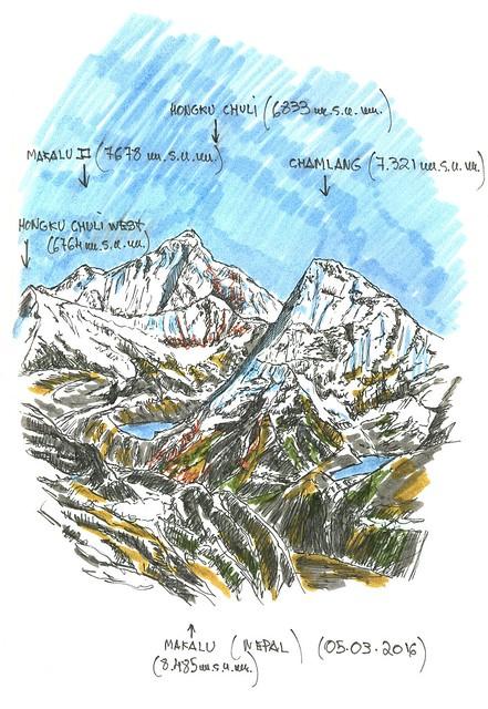 Makalu (8.485 m.s.n.m.) y entorno