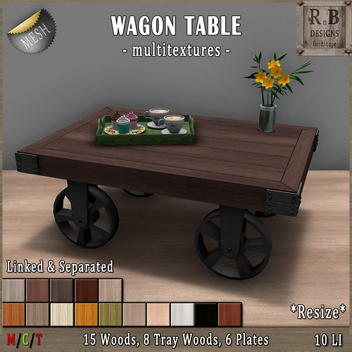 EXCLUSIVE NEW!!! *RnB* Wagon Table -Multitextures- 15 Variety Woods (copy)