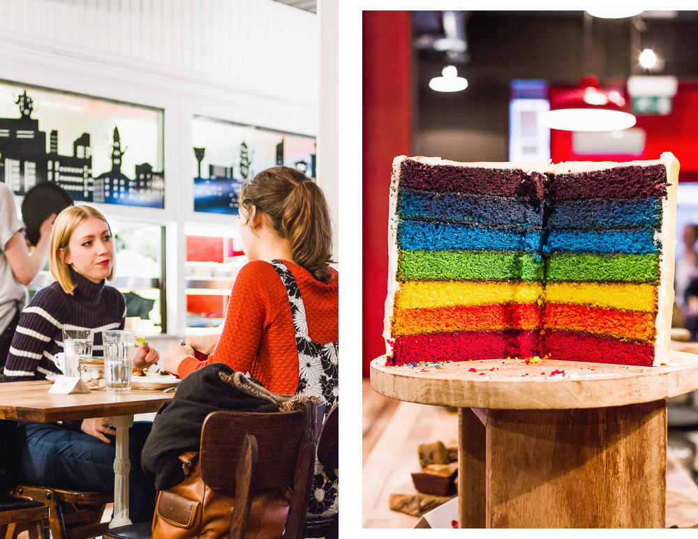 rainbow cake in Teacup Cafe Manchester
