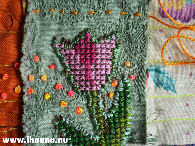 Re-Purposed Cross Stitch Tulip 1