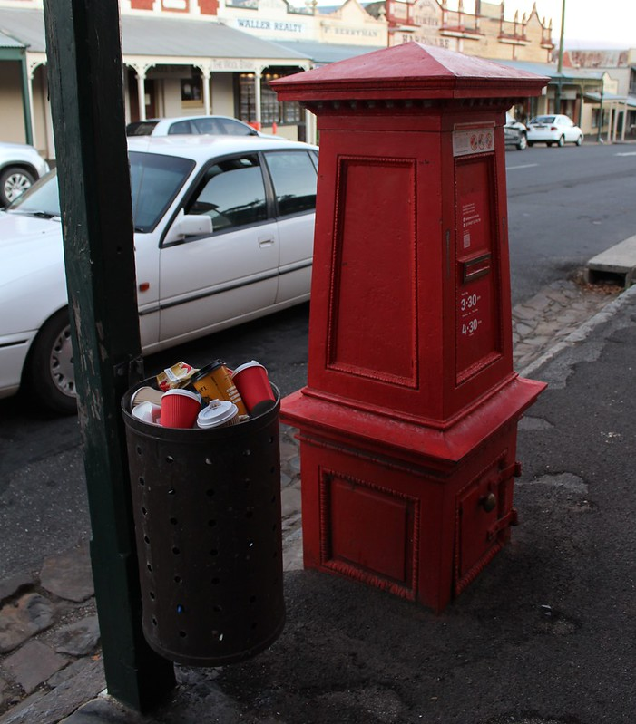 Vintage post box and rubbish bin, Maldon