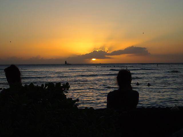 PB290636 ハワイ ワイキキビーチ サンセット hawaii waikiki beach sunset ひめごと ヒメゴト