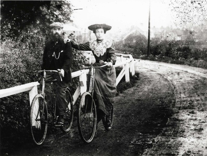Gentleman and Lady on Bicycles c.1900 (archive ref DDX1319-1-EYC12)