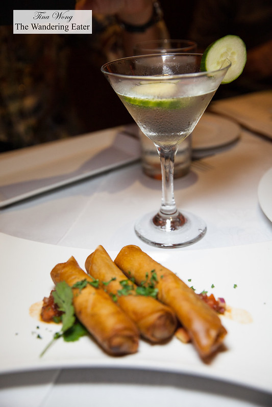 Cucumber martini with oxtail spring roll