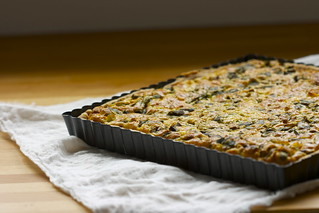 spring onion tart with wild garlic leaves