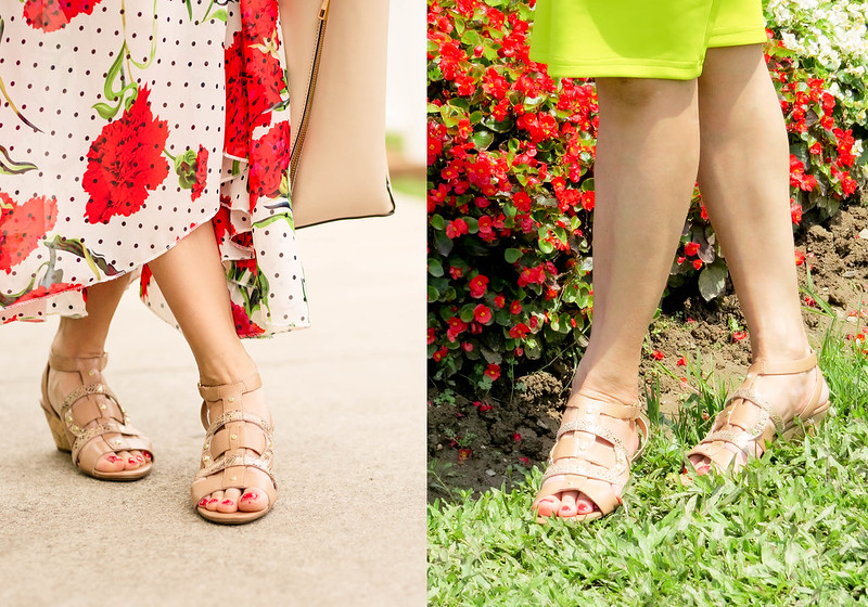 cute & little blog | petite fashion | nude gladiator wedge sandals | spring outfit
