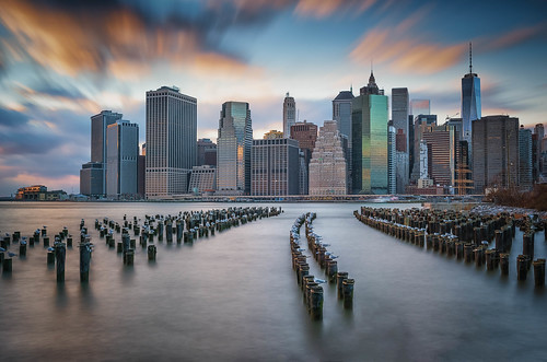 new york blue sunset sky cloud newyork reflection golden us long exposure unitedstates piers gulls posts piles