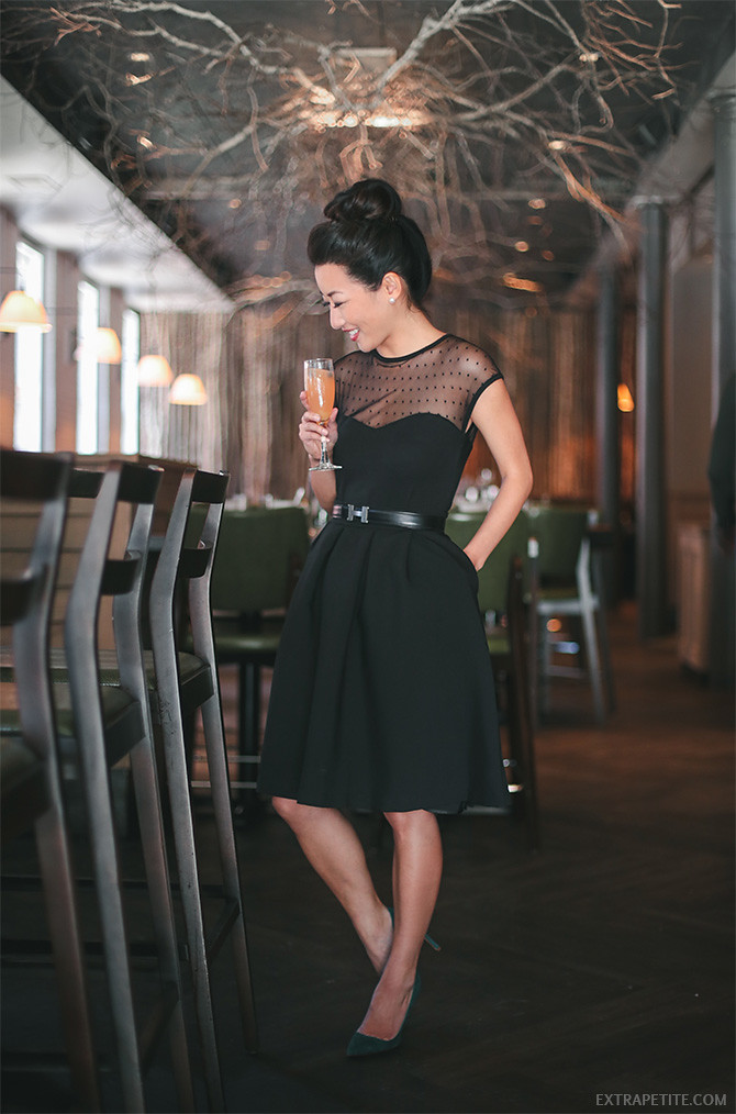 LBD modcloth black pleated skirt outfit banyan boston