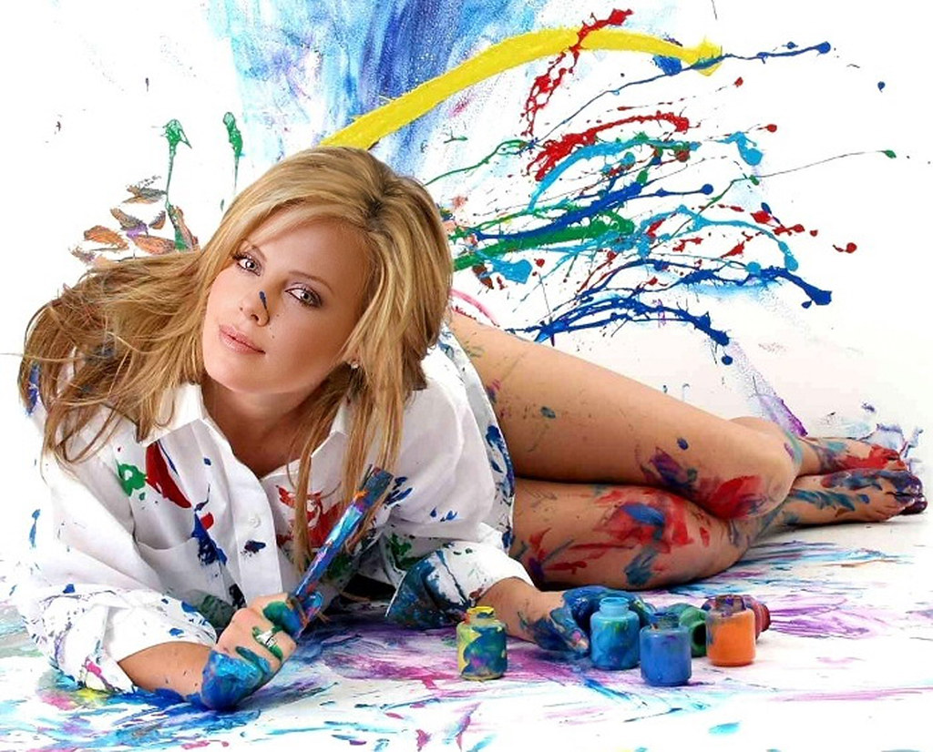 Charlize Theron Paint Herself Hd Wallpaper Stylishhdwall Flickr