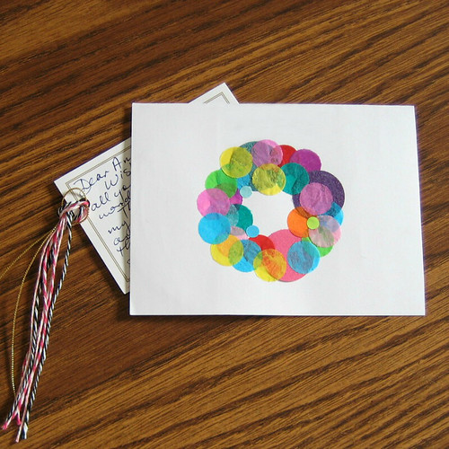 Tissue Paper Wreath Card