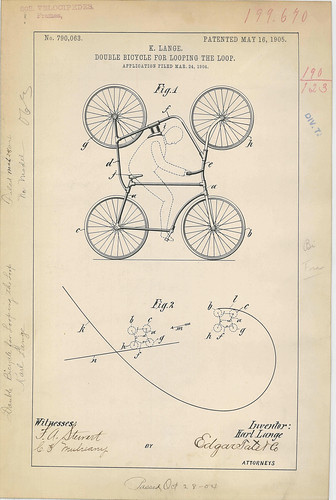 Patent Drawing for K. Lange's Double Bicycle for Looping the Loop