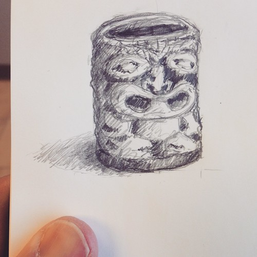 Vintage ceramic tiki toothpick holder. It usually sits on my office shelf.