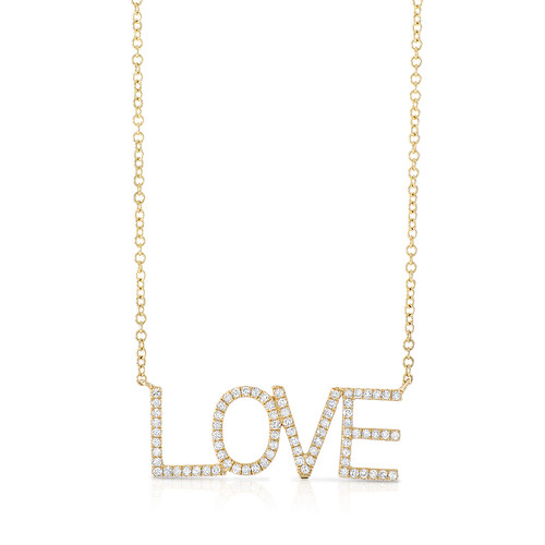 Yellow gold and diamond LOVE necklace (no brand) $550