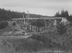 Lake Luella Bridge under construction, Waipori 1947
