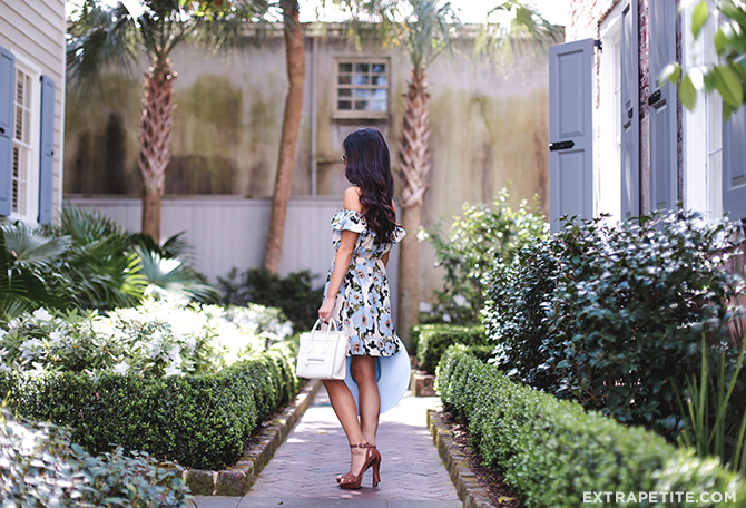 spring outfit floral dress garden charleston