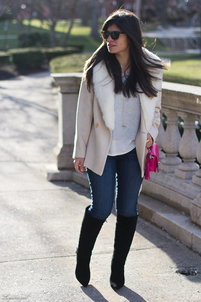 grey sweater, cream fur collar coat, black boots, pink bag-1.jpg