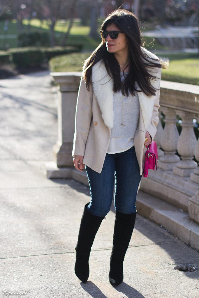grey sweater, cream fur collar coat, black boots, pink bag-1.jpg