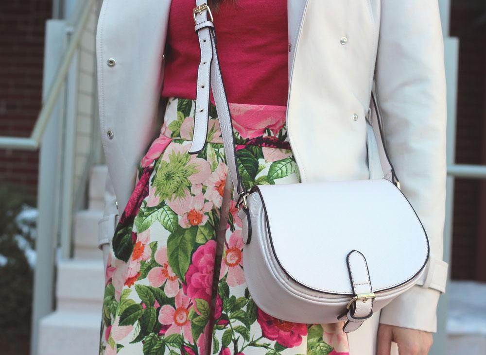 Floral midi skirt trench coat and pink saddlebag