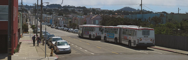 MUNI buses at the end of the 7 Line on Noriega and Great Highway; The Sunset, San Francisco (2015)