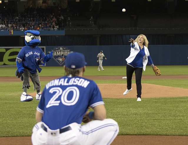 Donaldson catches the first pitch from his mom.