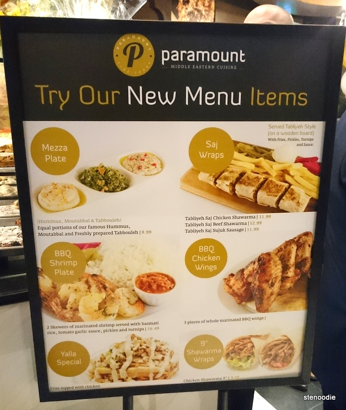 New menu items at Paramount Fine Foods