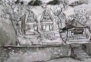 I Made Renaba, Candi Tebing Gunung Kawi, 29 x 42 cm, Ink on Paper