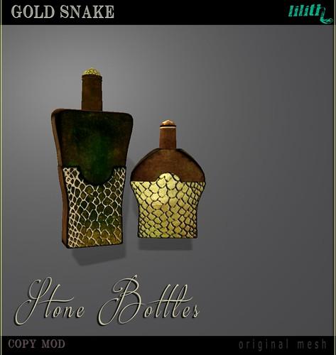 LD Stone Bottles  Gold Snake