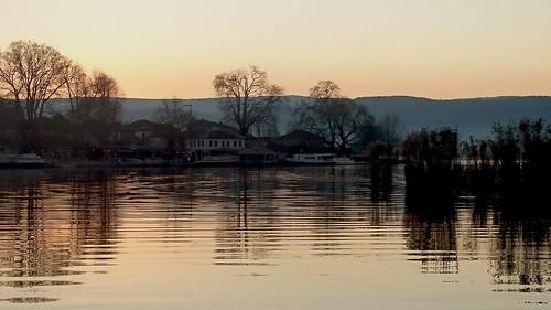 travel trees light sunset lake water reflections greece ioannina