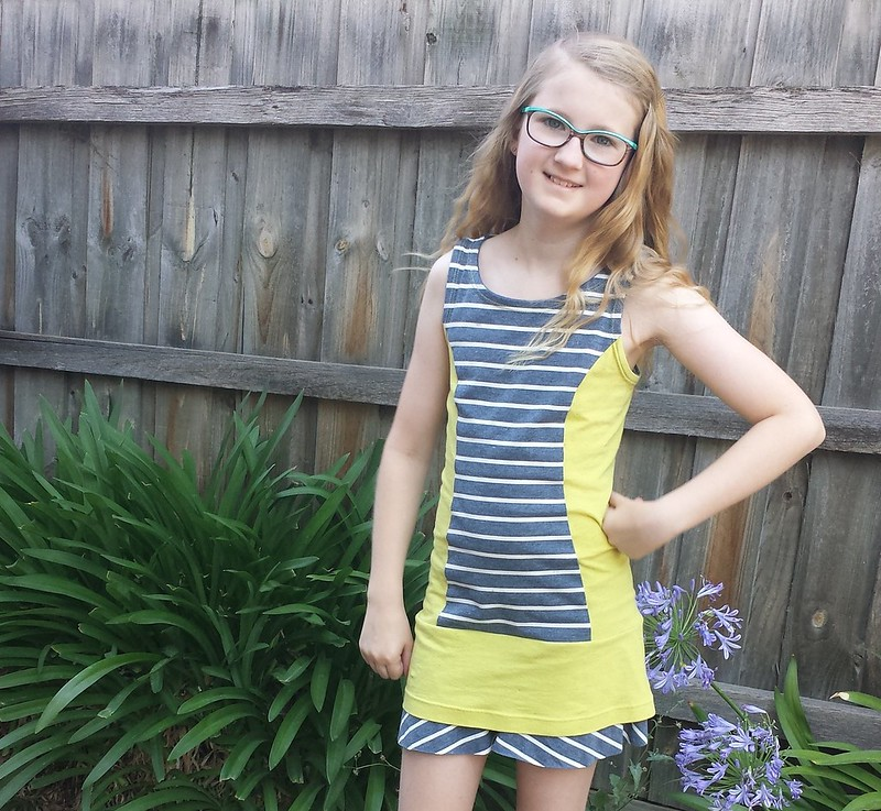 Burda 9418 in stripe knit from Clear It and solid from stash