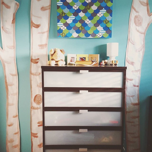 I'm going to preface this by saying, I know I'm ridiculous. I've wanted to put birch trees on this wall since before Matteo was born, but the wallpaper I found was out of budget and none of the other options I came across were good enough. Then I found th