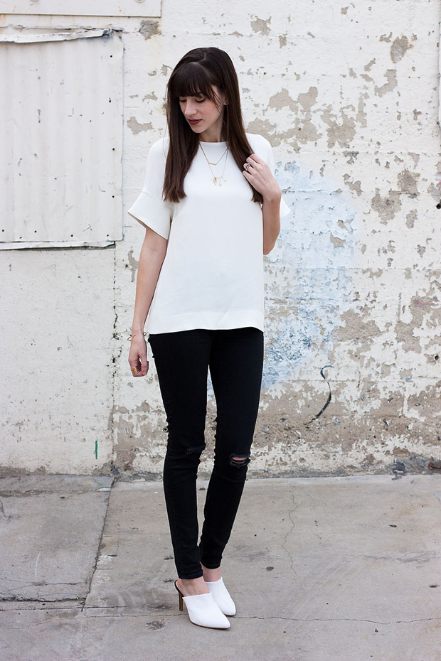 Cos Blouse, Black Ripped Jeans, Marais Mules
