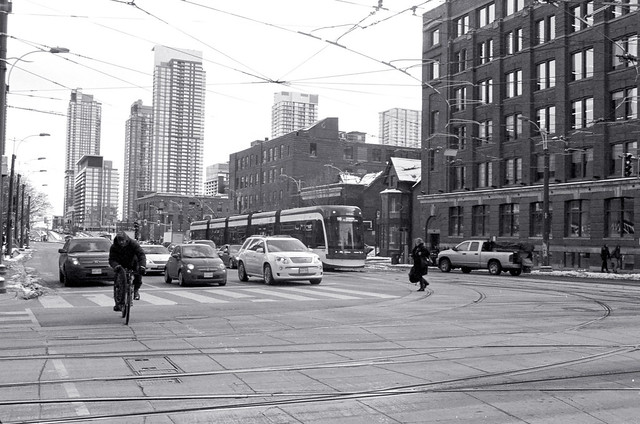 Crossing King at Spadina in Winter