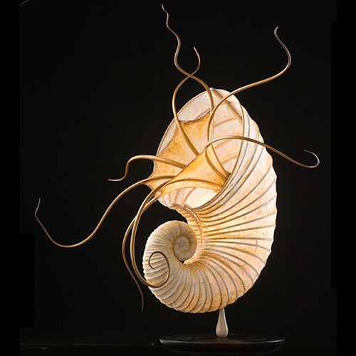 Thai Paper Ammonite Sculptural Lamp by Mario Messina