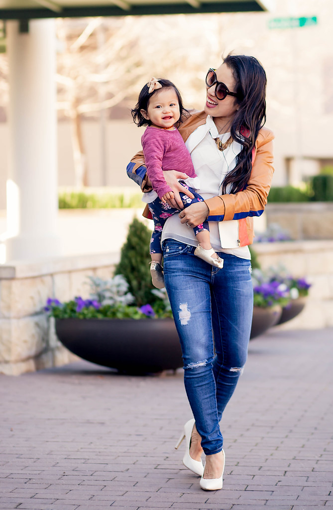 cute & little blog | petite fashion blog | cognac stripes moto jacket, ag distressed jeans, white pumps, spring outfit | mommy me | banabean