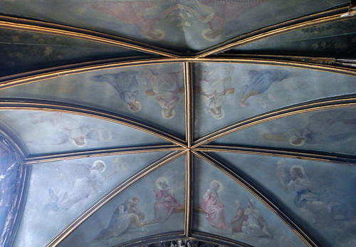 The vaulted Gothic ceiling of Hesdin Cathedral in France