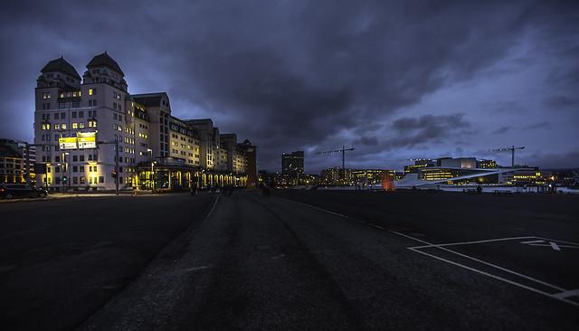 Oslo Havnelager and Oslo Opera House at dusk
