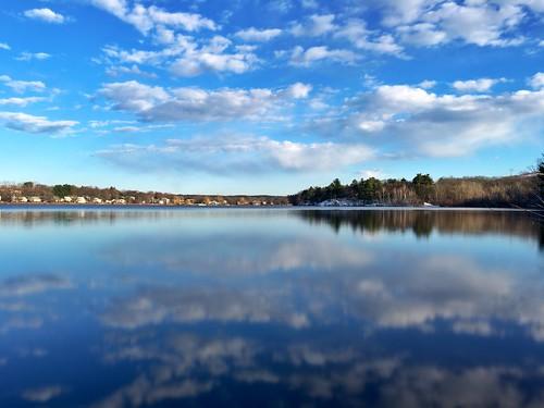longexposure blue reflection water beautiful boston mobile clouds reflections ma pond massachusetts newengland calm slowshutter pw woburn iphone hornpond iphoneography slowshuttercam slowshuttercamapp iphone6s