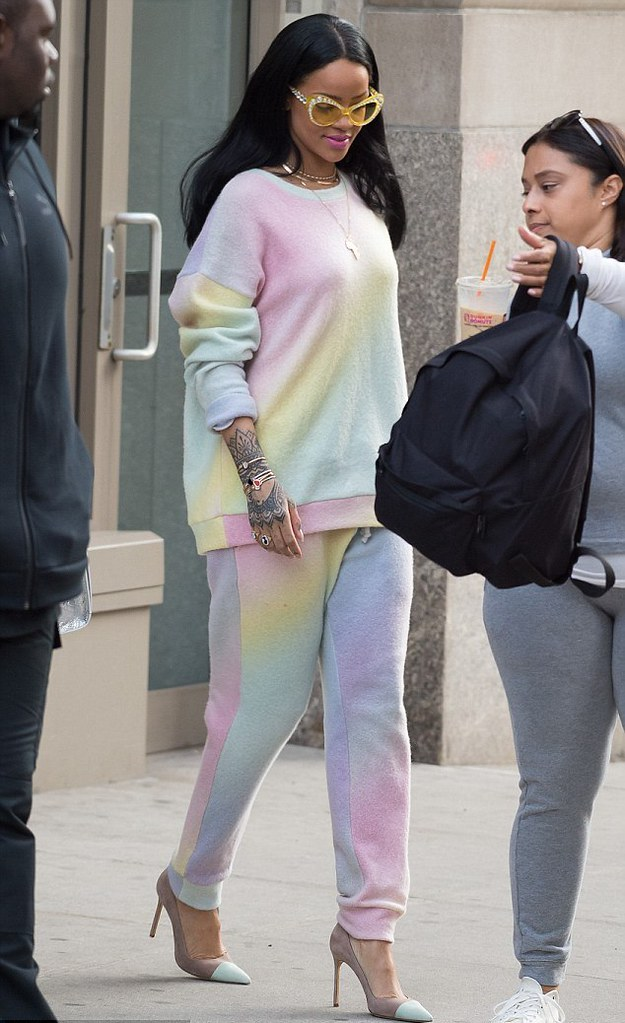 Elder-Statement-rainbow-track-pants-Elder-Statement-sweatshirt-Moschino-sunglasses-grey-and-pistachio-coloured-heels
