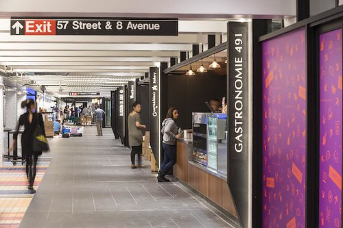 Turnstyle food and shopping hall, Columbus Circle subway station, New York City