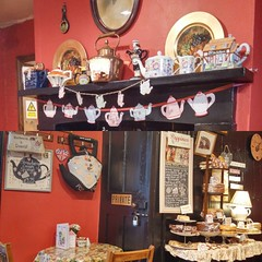 Wylie's Cafe and Tea Room - The Iron Yard - 66a Market Place Warwick - fireplace and cakes etc