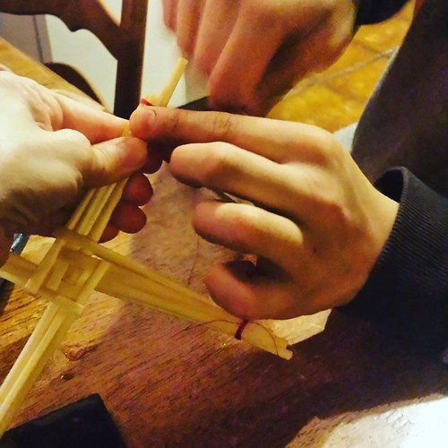 Making our first Brigid's cross.