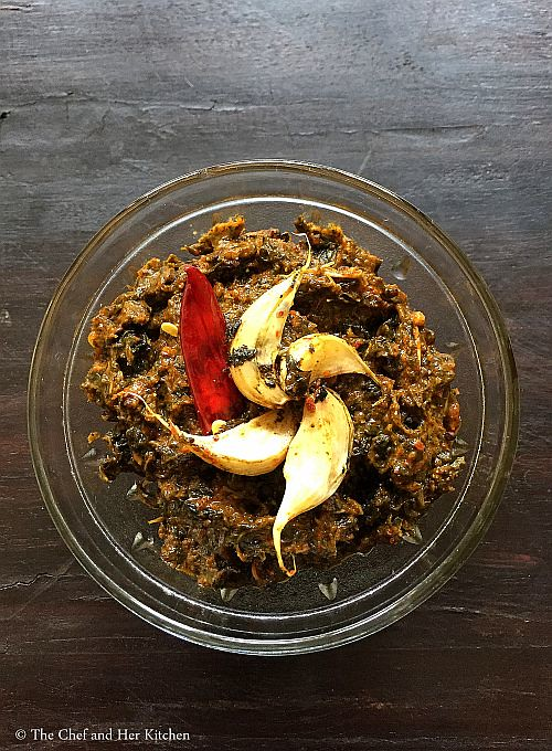 gongura pacchadi with red chillies