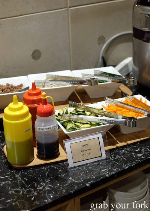 DIY bibim bap station at the all you can eat Korean lunch buffet at The Bab, Haymarket