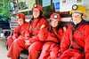 Family prepares to go caving at Krzna Jama Slovenia