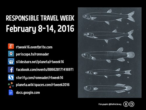 Responsible Travel Week happening everywhere Feb 8-14. Where to check in on Eventbrite, Facebook, Periscope, Slideshare, Storify, Wikispaces and Google Docs #rtweek16 (fish)