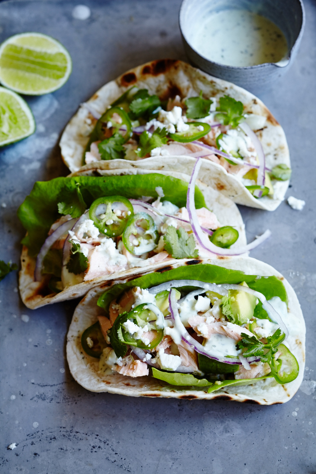Salmon Tacos With Avocado Cilantro Cream