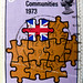 in memory (Brexit?) great stamp 1973 Great Britain 3p (European Community, Europäische Gemeinschaft, Communauté européenne, Comunidad Europea, Comunità Europea, Европе́йское соо́бщество, Comunidade Europeia, 欧洲​共同体 ) timbre UK United Kingdom stamps Englan