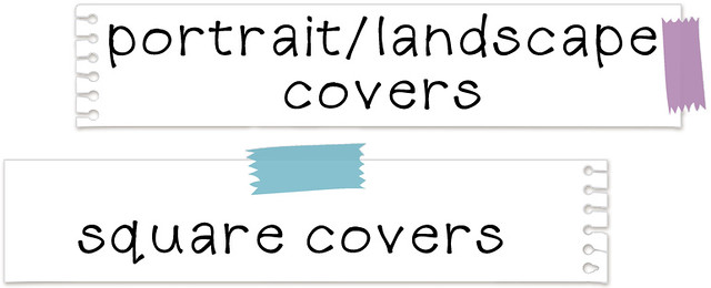 Strips of paper, top text portrait/landscape covers, bottom text square covers